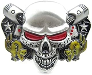 Gothic Silver Evil Skull Head Double Dices & Cats Belt Buckle Western Motorcycle