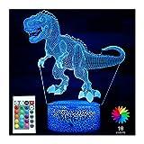 Menzee Luz nocturna de dinosaurio para niños, juguete para niños, 16 colores, lámpara 3D de dinosaurio, luz con mando a distancia, regalo de cumpleaños para niñas y niños