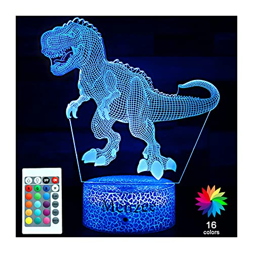 Menzee Luz nocturna de dinosaurio para nios, juguete para nios, 16 colores, lmpara 3D de dinosaurio, luz con mando a distancia, regalo de cumpleaos para nias y nios