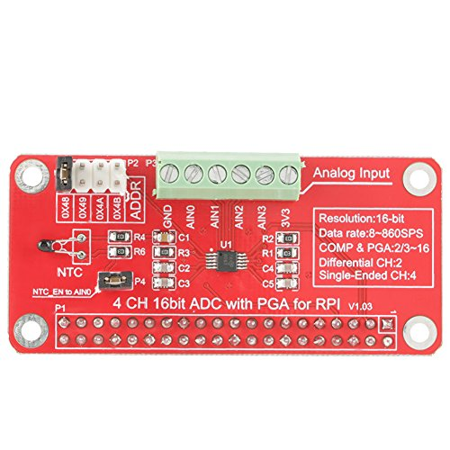 Akozon ADS1115 16 Bit ADC-Modul Precison Analog-Digital-Wandler Modul 4 Kanal für Raspberry Pi 3/2/B+