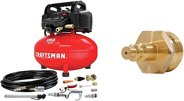 CRAFTSMAN Air Compressor, 6 Gallon, Pancake, Oil-Free with 13 Piece Accessory Kit (CMEC6150K) & Camco Blow Out Plug With Brass Quick Connect-Aids in Removal of Water From Water Lines (36143): image