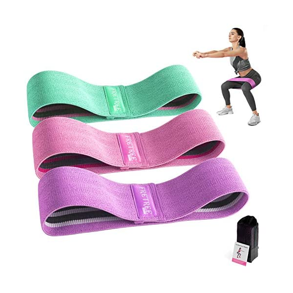 FRETREE Resistance Bands for Legs and Butt – Non Slip Elastic Exercise Bands...