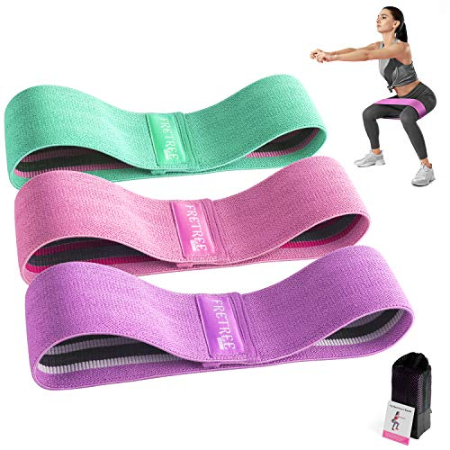 FRETREE Resistance Bands for Legs and Butt  Non Slip Elastic Exercise Bands Set for Stretching Strength Training Physical Therapy Yoga Home Equipment Workout Booty Bands for Women/Men 3 Packs