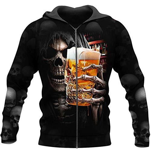 Beer Skull Hoodie Fun 3D Printed Sweatshirt Hoodie Zipper Hoodie Street Sportswear Sky Blue XXL