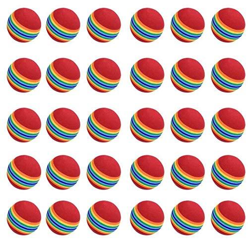 N / A 30 Stück Golfbälle zum Üben, Schwamm, Regenbogenstreifen, Schaumstoff-Training, weiche Bälle für Indoor/Outdoor Übungen, Schwungübungen
