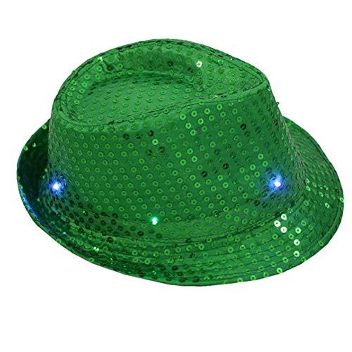 YQPWJ Sombrero Las Mujeres Intermitentes Vestido Casquillo Gorra De Béisbol Masculino con Sombreros De Colores Led De Lentejuelas Sombrero Grande Fiesta De Baile,Verde