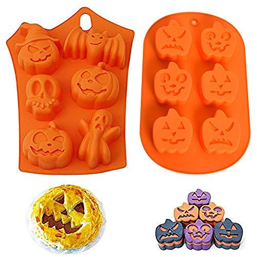 Kungfu Mall Lot de 2 moules à chocolat en silicone pour Halloween - Motif citrouille, sorcière et fantôme