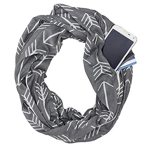 hong Wu Bequeme Loop-Schal Pfeil-Muster-Schal mit versteckter Reißverschluss-Tasche Schal (grau)