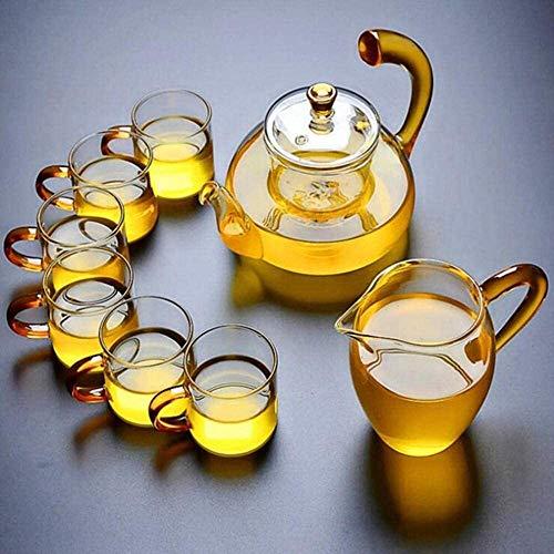 Bouilloire induction Théière simple Théière épaissie petite tasse de thé avec 6pcs en verre clair résistant à la chaleur Kung Fu TeaCup petite tasse mini salon WHLONG (Color : B)