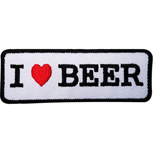 """Parche bordado con texto """"I Love Beer para planchar o coser en la ropa, sombrero, gorra, vaqueros, mochila"""