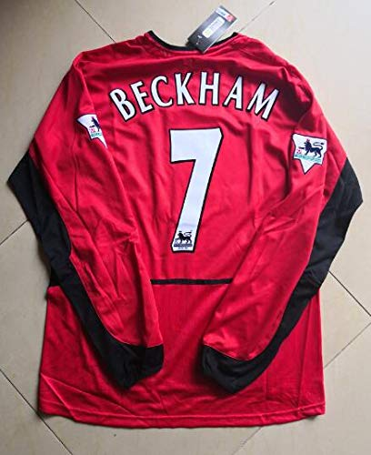 David Beckham#7 Retro Long Sleeve Trikot 2000-2003 Full Patch RED Color (S)