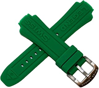 Swiss Legend 24MM Green Silicone Rubber Watch Strap & Silver Stainless Buckle fits 44mm Neptune Watch
