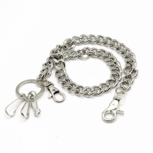 SenseYo 18' Secure Travel Wallet Chain with 2' Key Split Ring & Trigger Snap Hook Clasp for Biker Trucker