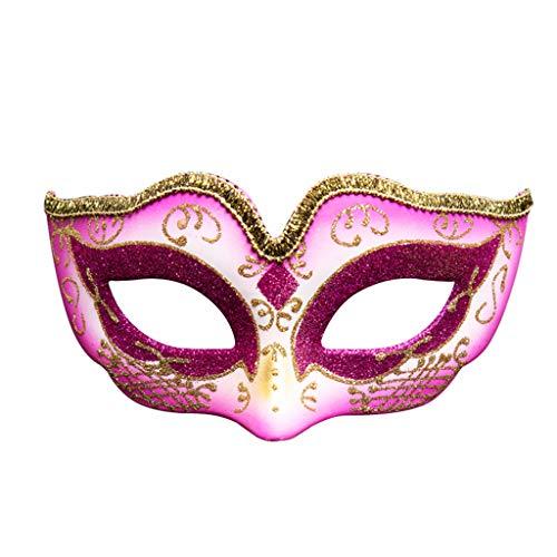 YYRZGW Maskerad mask för kvinnor – romersk halv ansikte grekisk mytologisk venetiansk mask Halloween Cosplay-rosenröd