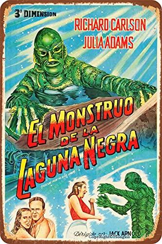 El Monstruo De La Laguna Negra Cartel retro Cartel de metal vintage Placa de hierro pintada Arte Decoración de la pared Sala de juegos Bar Pub 8 × 12 pulgadas