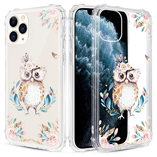 Caka Floral Clear Case for iPhone 11 Pro Max Flowers Floral Pattern Design for Girls Women Girly Cute Slim Soft TPU Transparent Shockproof Protective Case for iPhone 11 Pro Max (Owl)