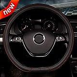 Pahajim D Tipo Diametro 38 cm (15') Coprivolante in Pelle Universale da Antiscivolo Traspirante Protettore Coprivolante per auto(Rosso)