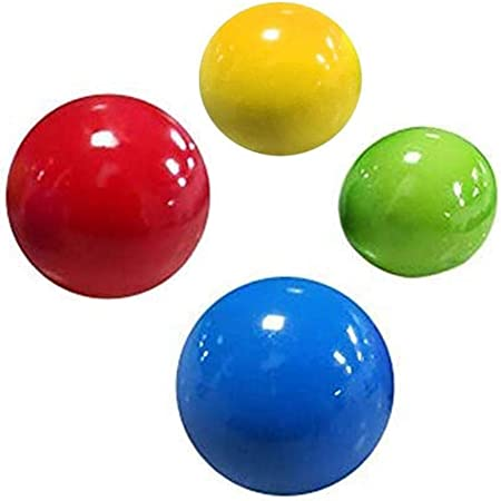 4 Pcs 45mm Luminescent Stress Relief Balls Sticky Ball Stick to The Wall and Slowly Fall Off Tear-Resistant Ceiling Sticky Target Balls Fun Toys for Kids and Adults