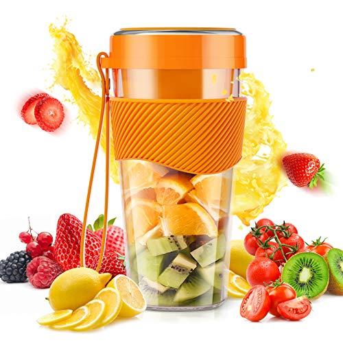 Smoothie Blender,COOKBEAR Portable Bottles Stainless Steel Blade Juice Blender Mixer USB Rechargeable Handheld Blender for Smoothie, Shakes, Frozen Fruit, and Baby Food -60W, 400ML (Orange)