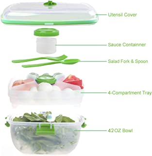 1200ML Salad Container To Go for Lunch, BPA-Free,Passed, 4-Compartment for Salad Toppings and Snacks,Salad Bowl with Dressing Container, and Built-In Reusable Fork,Leak-Proof, Microwave Safe