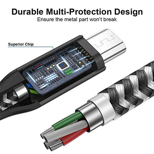 AVIWIS Micro USB Kabel [4Pack 0.3M+1M+2M+3M] Nylon Micro USB Ladekabel Schnellladekabel High Speed Android Ladekabel für Samsung Galaxy S7/ S6/ J7/ Note 5, Xiaomi, Huawei, Wiko, Echo Dot -Schwarz