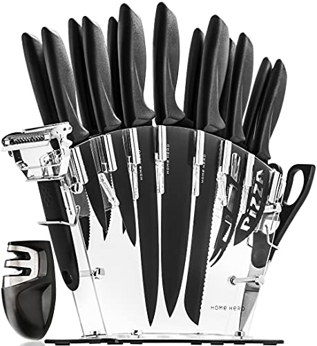 Stainless Steel Knife Set with Block 17 Piece Set Kitchen Knives