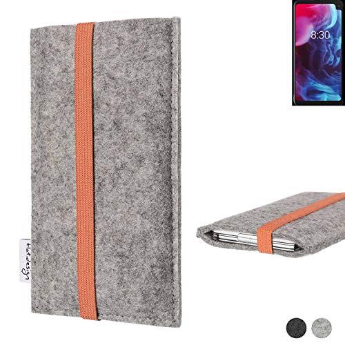 flat.design Handy Hülle Coimbra für Archos Oxygen 63XL - Schutz Hülle Tasche Filz Made in Germany hellgrau orange