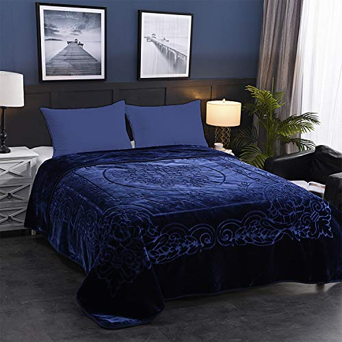 JML Fleece Blanket King Size, Heavy Korean Mink Blanket 85 X 95 Inches- 9 Lbs, Single Ply, Soft and Warm, Thick Raschel Printed Mink Blanket for Autumn,Winter,Bed,Home,Gifts, (Navy)