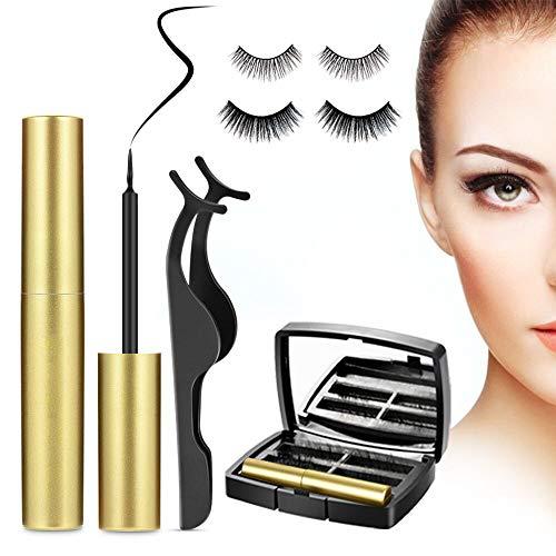 Ciglia Finte Magnetiche con Eyeliner Magnetico Eyeliner, 3D Magnetico Ciglia Riutilizzabili Reusable Impermeabile e Pinzetta ( 2 Paia )