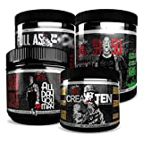 Rich Piana 5% Nutrition Pre-Workout Stack | 5150 Preworkout (Tropical Rage), FAF N.O. Preworkout (Fruit Punch), All Day You May BCAAs (Mango Pineapple), CreaTEN Creatine (Fruit Punch)