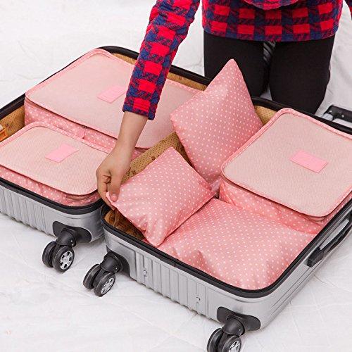 Generic Pink Blume: hoomall 6pcs Nylon Travel Storage Taschen Kleidung Organizer Multicolor Aufbewahrung für Kleidung Spielzeug Rucksack für Schuhe