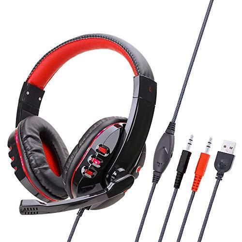 Huir Auriculares/Auriculares Brillantes para Juegos de Computadora Ps4 / Pc/USB con Micrófono de Cancelación de Ruido Activo Universal para Viajar Trabajar