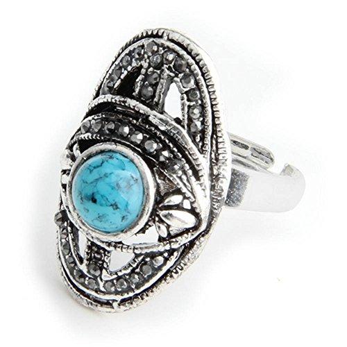 skyllc® Anillo de Dedo Ajustable Azul Turquesa de Plata tibetana Plateado Diamante 29 * 18mm