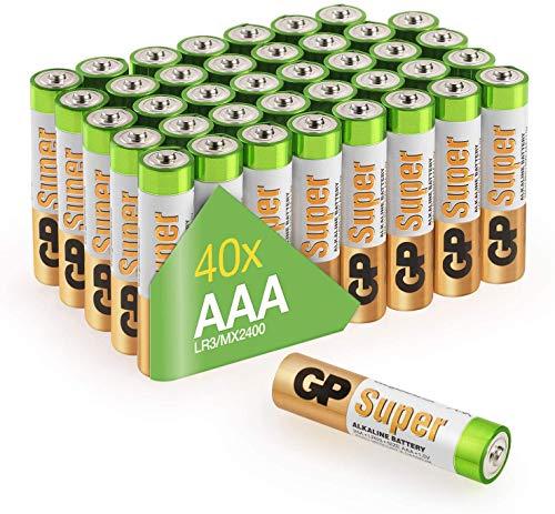 GP Batterien AAA 1,5V Super Alkaline Longlife Technologie, Vorratspack 40 Stück Micro AAA Batterien in praktischer