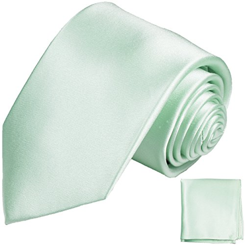Cravate homme vert clair uni ensemble de cravate 2 Pièces ( 100% Soie Cravate + Mouchoir )