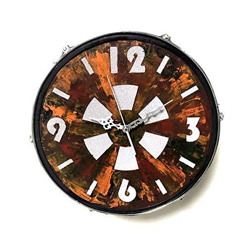 W.Z.H.H.H Reloj de Pared Tambores de la Sala Hierro Forjado Colgar de la Pared Designer Clock Led Inicio Sala de Estar Estudio Reloj Retro 42 * 16.5 (cm)