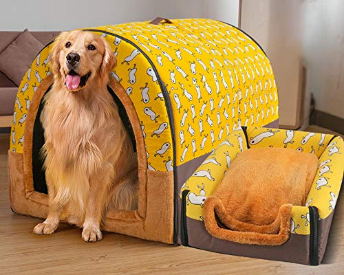 Extra Large Pet House Dog Bed with Roof XL,Labrador Calming Cave Medium Washable Orthopedic Cushion Wicker Heated Pad Anti Anxiety Chew Jumbo Small Tent Tough