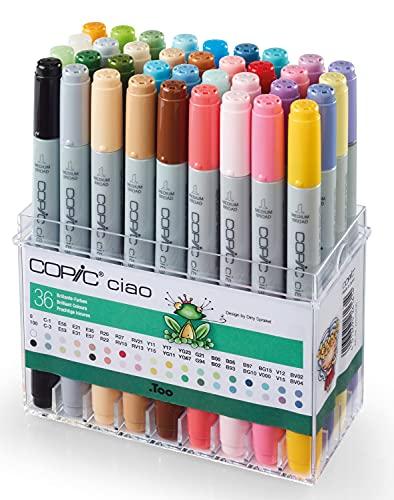 COPIC Ciao Marker 36er Set 'Brillianten Farben', alkoholbasierte Allround Layoutmarker, im praktischen Acryl-Display zur Aufbewahrung und einfachen Entnahme