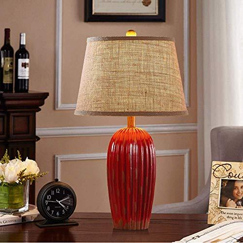 Lámpara Escritorio Lámpara de cerámica personalizada lámpara dormitorio minimalista moderno villa de lujo estilo de tela lámpara de noche sala de estar estudio lámpara decorativa 28 cm * 62 cm (color: