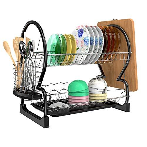 Astoryou - Escurreplatos para vajilla con 2 niveles, estantes para vajilla de cocina, organizador de escurridor de acero inoxidable, visualización de mostrador de almacenamiento