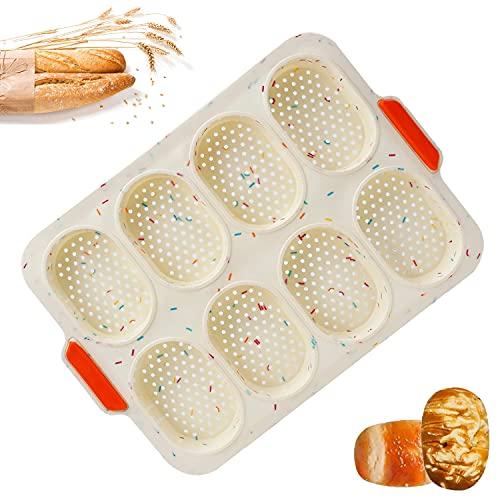 Bandeja de Pan, Silicona Molde Pan con 8 rejillas, Silicona Antiadherente Bandeja, Molde para Baguette, Mini Baguette Hornear Bandeja, para Pasteles Panes, Pan Francés (Puntos de colores)