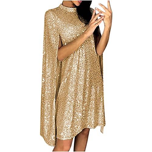 Rioge Damen Glitzer Kleid Festlich Hochzeit Kleider Elegant Abendkleid Langarm Schal Cocktailkleid Sexy Partykleid Minikleid Paillettenkleid für Frauen