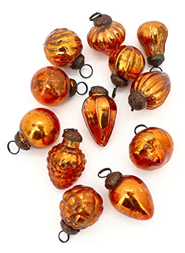 Serene Spaces Living Set of 12 Mini Copper Mercury Glass Ornaments for Holiday Décor, Measures 1.5' Long and 1.5' Diameter