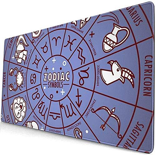 Sterrenbeeld horoscoop teken met datum-iconen op Extended Gaming Mouse pad, dik groot computertoetsenbord muismat