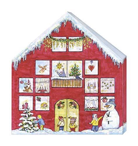 MAMMUT 162001 - Adventskalender Wichtelhäuschen, mit 24 Wichteln zum Aufhängen mit Schlaufe, Komplettset, fertige Figuren zum Anhängen, aus Holz (MDF), Filz, Strick, Weihnachten