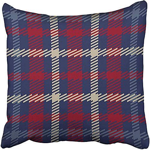 Doble Cojines Fundas 18' Tartán escocés en Azul Marino Rojo Beige Azul Celta irlandés británico Funda de Almohada Suave para la Piel