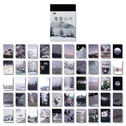 100 Pcs Stickers Set Notebook Style, DIY Journal Stickers for Planner,Beautiful Scenery Green Leaves,DecorationSchool Supplies 50 Designs Each 2pcs(Grey Mountain(lingluoshanchuan)