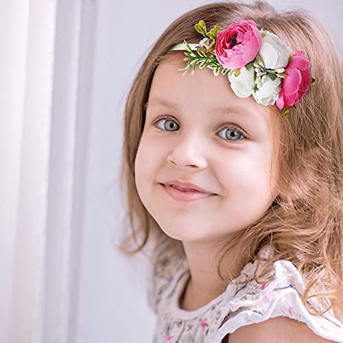 Wisolt Corona de Flores Niña Diadema de Corona Decoración de Flores para el Cabello Diadema de Flores de Bebé Flores Artificiales Banda Boho Nilón Rosado Blanco Muñequera para Banquete Banquete