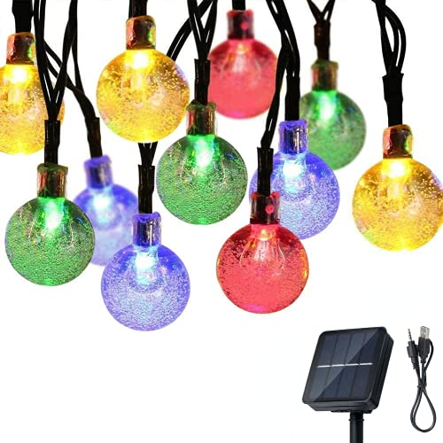Fairy Lights Solar Lights Outdoor Garden, Lvanvos Solar/USB Powered String Lights 30ft 60 LED Patio Lights with 8 Modes, Hanging Fairy Lights for Bedroom Garden Yard Christmas Wedding Party Decor