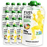 Fuel For Fire VEGAN - Mango Coconut Smoothies (24 pack) Ready-to-Drink Squeeze Pouch | Soy Free, Lactose Free, Dairy Free, Plant-based Pea Protein, Vegan, Gluten Free | On the Go